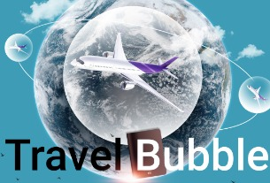 Global trend of air travel bubbles